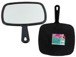 48 Bulk Large Black Tv Hand Mirror
