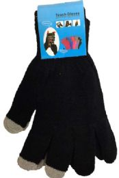 12 Units of Texting Gloves Lady's Size Black Color - Winter Gloves