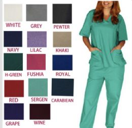 36 Units of Unisex V Neck Scrub Tops Sold By Color - Nursing Scrubs