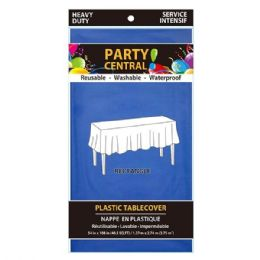 96 Units of Rectangle Blue Plastic Table Cover - Table Cloth