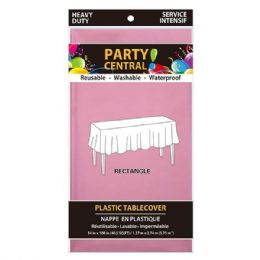 96 Units of Rectangle Pink Plastic Table Cover - Table Cloth