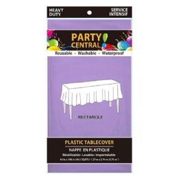 96 Units of Rectangle Lavender Plastic Table Cover - Table Cloth