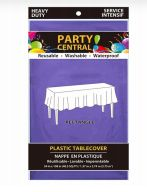 96 Units of Rectangle Purple Plastic Table Cover - Table Cloth
