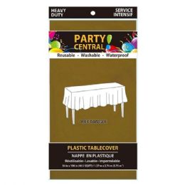 96 Units of Rectangle Gold Plastic Table Cover - Table Cloth