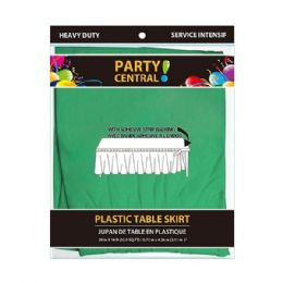 48 Units of Rectangle Green Plastic Table Skirt - Table Cloth