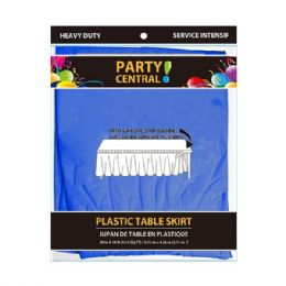 48 Units of Rectangle Dark Blue Plastic Table Skirt - Table Cloth