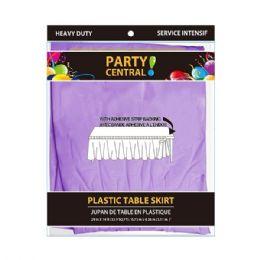 24 Units of Rectangle Lavendar Plastic Table Skirt - Table Cloth