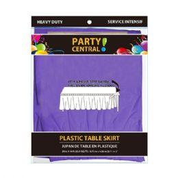 24 Units of Rectangle Purple Plastic Table Skirt - Table Cloth