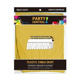 24 Units of Rectangle Yellow Plastic Table Skirt - Table Cloth