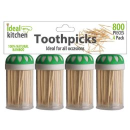 96 Units of 4 Pack Bamboo Toothpick - Toothpicks