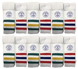 24 Bulk Yacht & Smith Men's 30 Inch Referee Style Cotton Terry Tube Socks, Size 10-13 White With Stripes