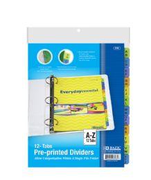 48 Bulk Bazic 3-Ring Binder Dividers W/ 12-Preprinted A-Z Tab