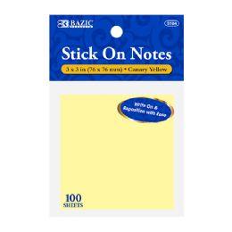 120 Bulk Bazic 100 Ct. 3 X 3 Yellow Stick On Notes