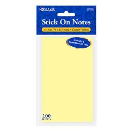 72 Bulk Bazic 100 Ct. 3 X 5 Yellow Stick On Notes