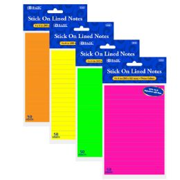 72 Bulk Bazic 50 Ct. 4 X 6 Neon Lined Stick On Notes