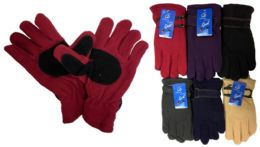 12 Units of Lady Fleece Glove With Faux Leather - Winter Gloves