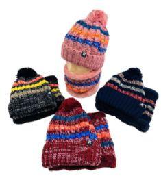 48 Units of Plush-Lined Pompom Knit Hat/neck Warmer Combo stripes Two Piece Set - Winter Sets Scarves , Hats & Gloves