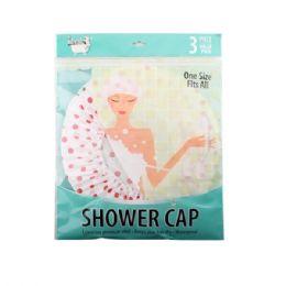 96 Units of 3 Pack Shower Cap - Shower Caps