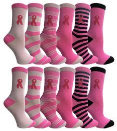 24 Wholesale Yacht & Smith Printed Breast Cancer Awareness Socks, Pink Ribbon Women Crew Socks