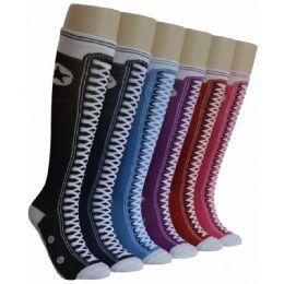 240 Units of Ladies Sneaker Print Knee High Socks - Womens Knee Highs
