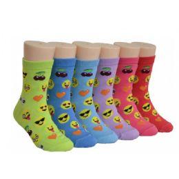 480 Units of Girls Emoji Crew Socks - Girls Crew Socks