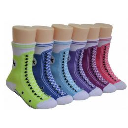 480 Units of Girls Sneaker Print Crew Socks - Girls Crew Socks