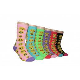 480 Units of Girls Emoji Face Crew Socks - Girls Crew Socks