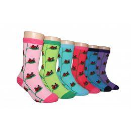 480 Units of Girls Ladybug Crew Socks - Girls Crew Socks