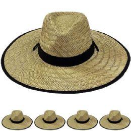 12 Units of Wide Brim Bamboo Straw Lightweight Man Sun Hat - Sun Hats