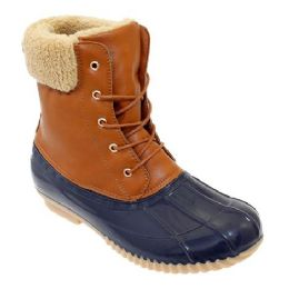 12 Units of Womens Duck Boot In Brown Navy - Women's Boots