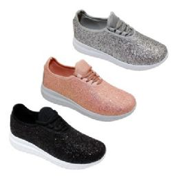 12 Units of Womens Glitter Lace Up Fashion Sneakers In Rose Gold - Women's Sneakers