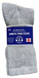 24 Bulk Yacht & Smith Women's Cotton Diabetic NoN-Binding Crew Socks - Size 9-11 Gray