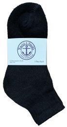 24 Units of Yacht & Smith Kids Cotton Quarter Ankle Socks In Black Size 6-8 Bulk Pack - Boys Ankle Sock