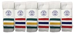24 Units of Yacht & Smith Women's Cotton Striped Tube Socks, Referee Style Size 9-11 Bulk Pack 28inch - Women's Tube Sock