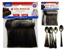 96 Units of 40 Piece Mini Silver Tasting Spoons - Disposable Cutlery
