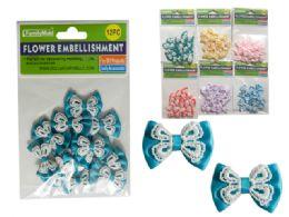 288 Bulk 6 Asst Colors 12pc Flower Embellishments