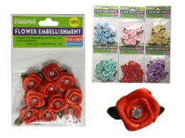 288 Bulk 6 Asst Colors 10 Pc Flower Embellishments