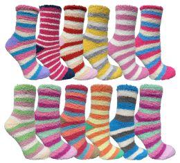 24 Wholesale Yacht & Smith Women's Fuzzy Snuggle Socks , Size 9-11 Comfort Socks Assorted Stripes