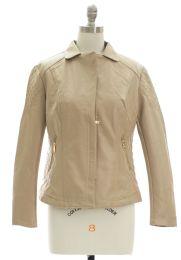 12 of Open Lapel Faux Leather Jacket Tan