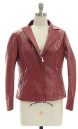 12 of Open Lapel Faux Leather Jacket Red