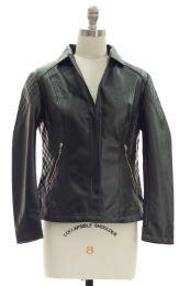 12 of Open Lapel Faux Leather Jacket Black