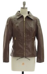 12 of Faux Leather Collar Jacket Brown