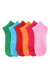 432 Units of Girls Printed Casual Spandex Ankle Socks Size 9-11 Vibrant Solids - Girls Ankle Sock