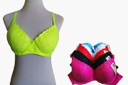 60 of Fashion Padded Bras Packed Assorted Colors With Adjustable Straps Neon Color Bras
