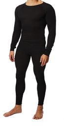 36 Units of Men's Black Thermal Cotton Underwear Top And Bottom Set, Size Medium - Mens Thermals