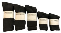 960 of Mixed Sizes Of Cotton Crew Socks For Men Woman Children In Solid Black