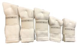 960 of Mixed Sizes Of Cotton Crew Socks For Men Woman Children In Solid White