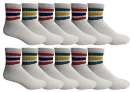 24 Bulk Yacht & Smith Men's King Size Cotton Sport Ankle Socks Size 13-16 With Stripes Bulk Pack