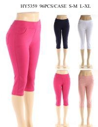 24 Units of Womens Capri Pants In Assorted Solid Colors - Womens Capri Pants
