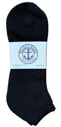 24 Bulk Yacht & Smith Men's King Size Cotton No Show Ankle Socks Size 13-16 Black Bulk Pack